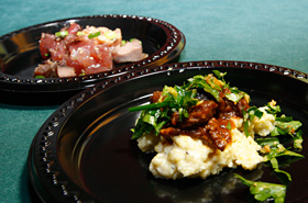 The Poke Sampler from Nico's at Pier 38 and Braised Lamb and Fresh Hawaii Vegetables  from 12th Avenue Grill