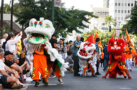The invigorating Chinese lion and dragon dance