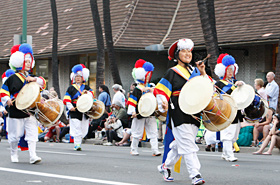 The rhythmical beating of the drums is a big part of Korea's traditional folk music.