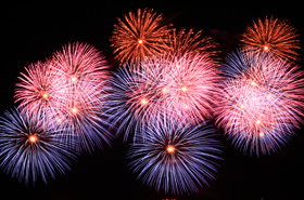 White, blue, purple, yellow, orange, the vivid colors of the fireworks decorated the evening sky.