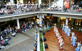 A huge crowd watches the performances at Ala Moana Center Stage.