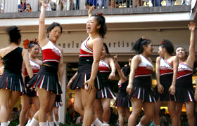 Japan's number one cheerleading team Nippon Sport Science University Cheerleading Squad VORTEX energized the crowd with their smiles and dynamic performance.