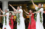 Osaka's Hula Halau Luana & Ikala in their red and white muumuu, colorful costumes stood out on the stage