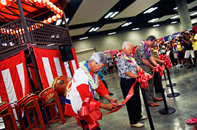 The official ribbon cutting ceremony for the Honolulu Festival Yagura.