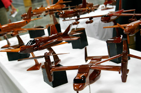 Beautifully polished airplanes made of wood. One can feel the love put into these hand made products.