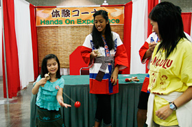 A typical example of an old traditional Japanese toy, kendama. It looks easy but actually it's quite difficult.