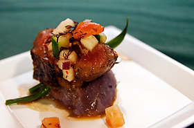 Hibachi (teppanyaki) Steak from Prince Court Restaurant. Molokai coconuts used in this dish.