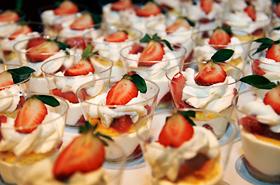 Honolulu Coffee Company's Berry Shortcake. Coffee jelly and macaroons too.