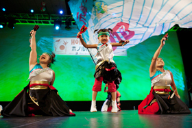 THE SUKAKKO SORAN group with their energetic, little dancers is popular with the audience.