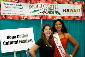Miss Kona Coffee 2011 Lacy Deniz from the Big Island represents the Kona Coffee Cultural Festival booth.