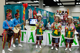 The traditional arts, songs and dance of Taiwan are performed at the Taiwan booth. Their colorful costumes are a major attraction.