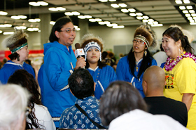 A native Alaskan greeting. It was probably the first time for many people to hear their language.