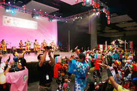 The guests couldn't help but get up and dance to the beat of the Okinawan music.