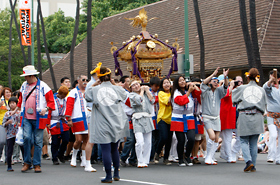 Mikoshi and the loud cheering by the supporters depict the true essence of MATSURI. Members of Inaho Adult Mikoshi perform.