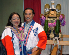 Yuki Lei Sugimura (left) from the Japanese Cultural Society of Maui and Eugene Shikuma (right)