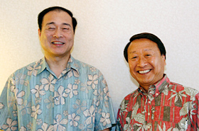 Mayor Mori of Nagaoka City with Executive Director Asanuma of the Honolulu Festival Foundation