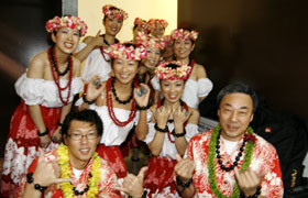Members wait to perform at Ala Moana Center Stage. Not nervous at all, they were all having fun.