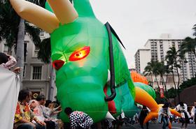 The Saitama Ryujin Matsuri Kai dragon rushes the audience on occasion.