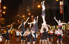 The top cheerleading squad from Japan VORTEX excites the crowd with their three level acrobatic acts.