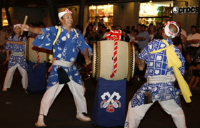 The taiko performance of Kokura Giondaiko Hozonshinkokai. Full of energy and power.
