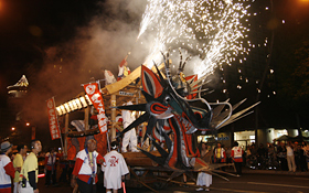 Honolulu Daijayama is the Grand Parade's final mikoshi.
