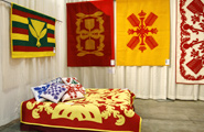 Quilt design using Hawaii's royal colors, red and yellow.