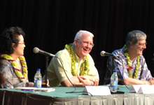From left: Dr. Gay Michiko Satsuma,Associate Director, Center for Japanese Studies at University of Hawaii at Manoa; Dr. George Mercer Brooke III, descendant of Lt. John Mercer Brooke; Mr. Dwight Damon, descendant of Rev. Samuel Chenery Damon, Honolulu's seamen's chaplain.