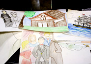 The story boards that the KCC students made for their Joesph Heco Kamishibai project
