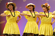 Hula dancers' colorful costumes