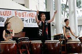 Performance by Taiko KOZO, interacting with the audience.