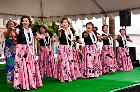 Shigeko Kubomi Hula Halau members show off their dance and their beautiful smiles.