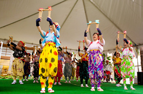 Members of Japan Nankin Tamasudare Association. This is a traditional Japanese performing art that is rarely seen even in Japan.