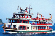 Sightseeing tour boat from Toba's port.