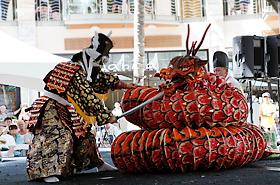 須佐之男命が大蛇を退治する迫力のシーン。日南神楽神光社の皆さん