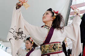 Members of the Yosakoi Team TOKIWA nail their beautiful and stylish Yosakoi dance.